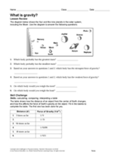 what is gravity grade 6 7 8 9 10 11 12 worksheet