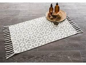 Tapis Façon Carreaux De Ciment : tapis 100 coton motif carreau de ciment mosa que franges ~ Preciouscoupons.com Idées de Décoration