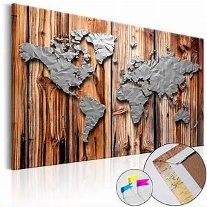 Weltkarte Bild Holz : bild weltkarte pinnwand memotafel holzfaserplatte wandbild ~ Lateststills.com Haus und Dekorationen