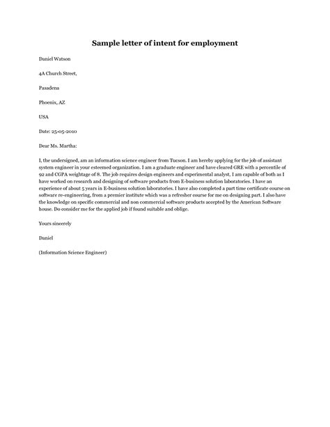 sample letter  intent job application sample letter