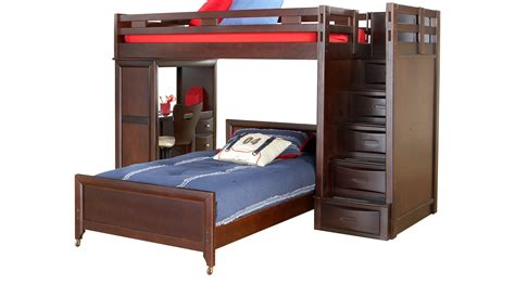 double bunk bed with desk ivy league cherry twin twin step loft bunk with desk