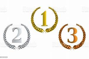 First, Second, And, Third, Prize, 3d, Laurels, Isolated