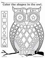 Shapes Owl Coloring Worksheets Worksheet Pages Fall Printable Preschool Kindergarten Owls Shape Themed Theme Printables Number Activities Supplyme Skills Motor sketch template