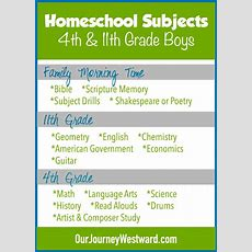 Homeschool Curriculum And Schedule For 4th And 11th Grade Boys