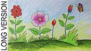 Drawing Scenery Flower - Drawing Of Sketch