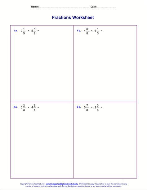 worksheet multiplying fractions worksheets hunterhq free