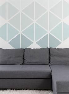 Bilder Für Schlafzimmer Wand : exciting wand streichen ideen zweifarbige w nde zum tapezieren gestalten dreiecke muster an der ~ Sanjose-hotels-ca.com Haus und Dekorationen