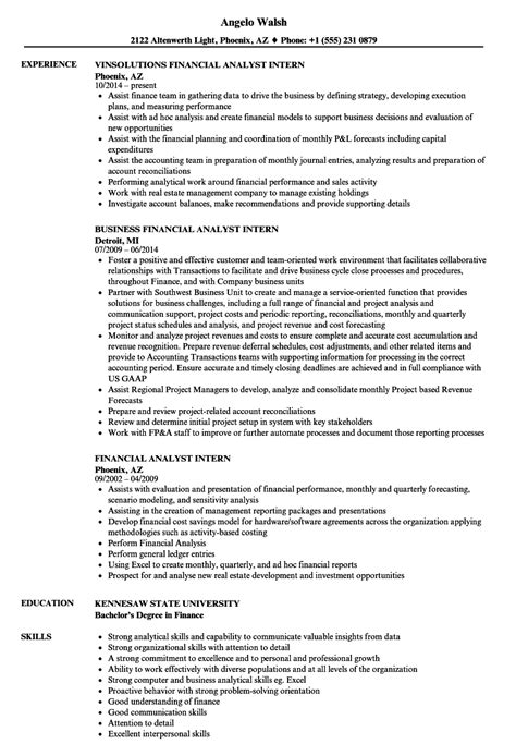 Financial Analyst Skills Resume by Financial Analyst Intern Resume Sles Velvet
