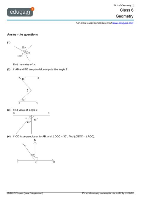class 6 math worksheets and problems geometry edugain india