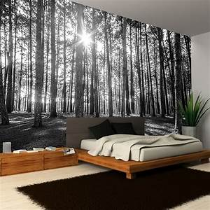 Rainbow Black & White Woodland Forest Mural Photo Giant ...