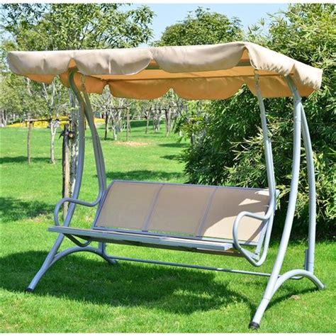 aos patio sand color captiva 3 person canopy swing with
