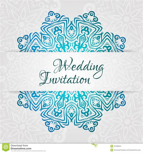 Lacy Vector Wedding Card Template Romantic Vintage