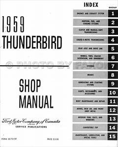 1959 Ford Thunderbird Canadian Repair Shop Manual Original