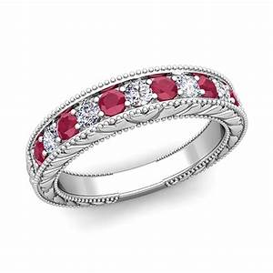 Vintage diamond and ruby wedding ring band in 18k gold for Wedding rings with rubies and diamonds