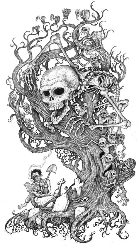 Tree of the damned | Pictures to color | Dark art tattoo, Tattoo drawings, Skull coloring pages