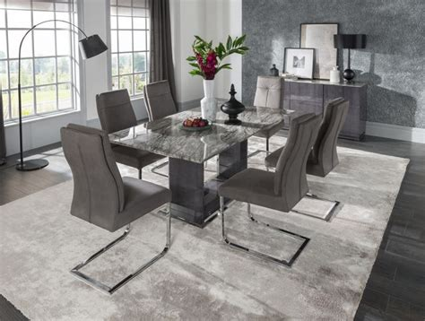 donatella cm grey marble dining table  chairs dta