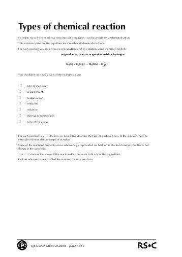 types of chemical reactions worksheet answers