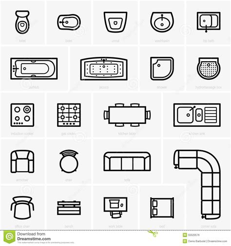 furniture templates top view furniture icons stock vector illustration of 55520576