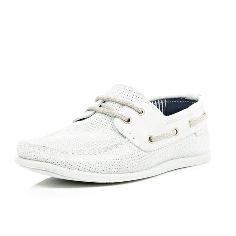 White Boat Shoes by Lyst River Island White Perforated Suede Boat Shoes In