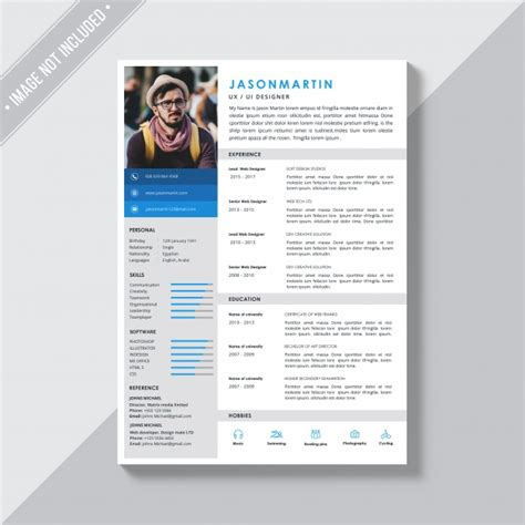 direct download cv templates psd white cv template with blue and grey details psd file