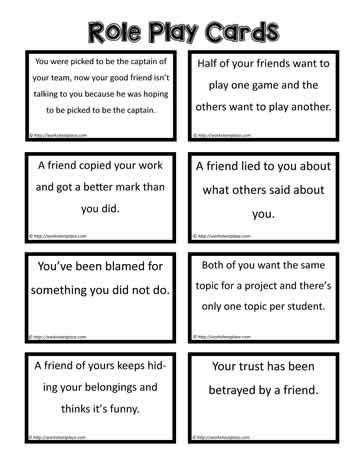 role play cards social skills  kids family therapy