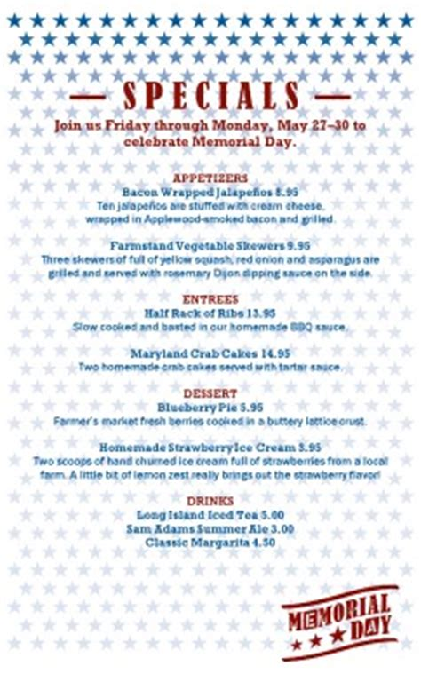 memorial day restaurant specials holiday archive