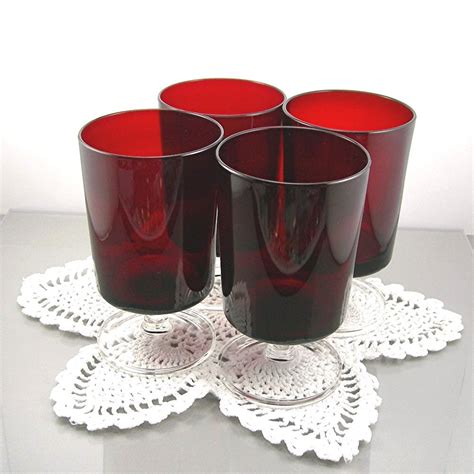 Vintage Red Luminarc Goblets Drinking Glasses Set of 4 Made in