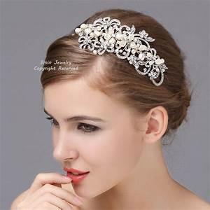 Vintage Style Wedding Headband Rhinestone Pearl Bridal