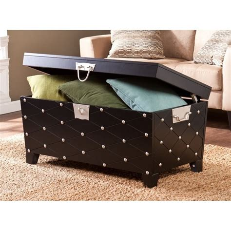 black and silver coffee table southern enterprises nailhead trunk coffee table in black