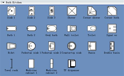 symbols  building plan bath kitchen