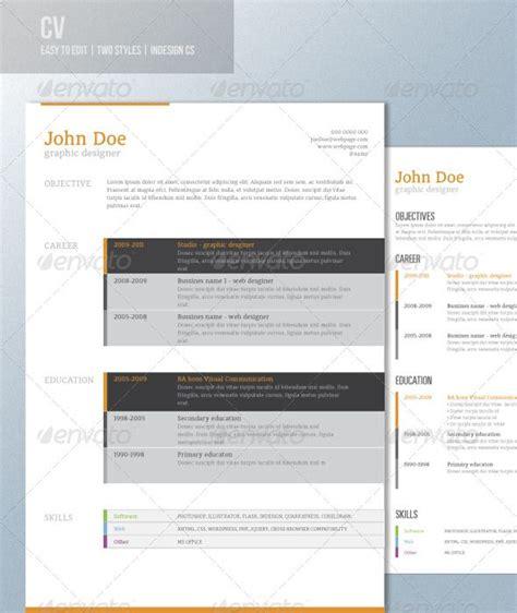 curiculum vitae templates indesign 27 best indesign resume templates images on