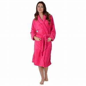 womens soft coral fleece bath robe dressing gown hot With robe fuchsia