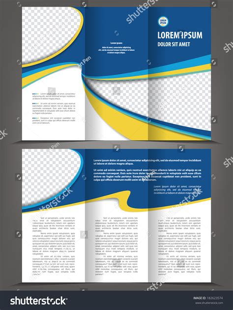 trifold design template empty vector empty trifold brochure print template blue design