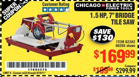 bridge tile saw harbor freight harbor freight tools coupon database free coupons 25