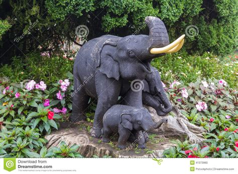 Elephant Garden Decoration by Elephant Statue On The Garden Stock Photo Image Of
