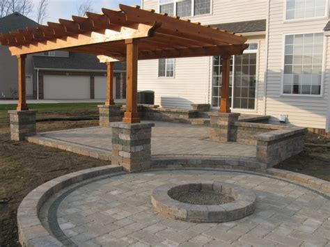 outdoor room with firepit and pergola