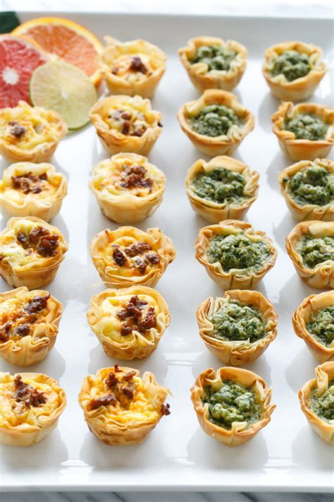 filo pastry cases canapes mini quiche bites with phyllo crust and olive