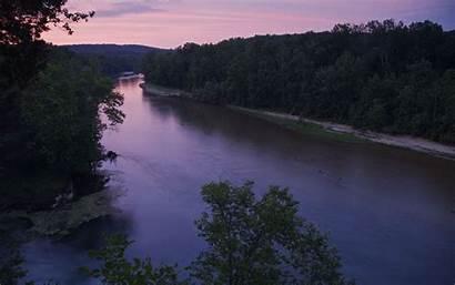 River Current Sunset Along Jorjorian Missouri Dam