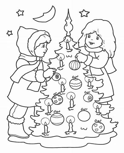 Coloring Christmas Tree Decorating Children Decorations Topcoloringpages