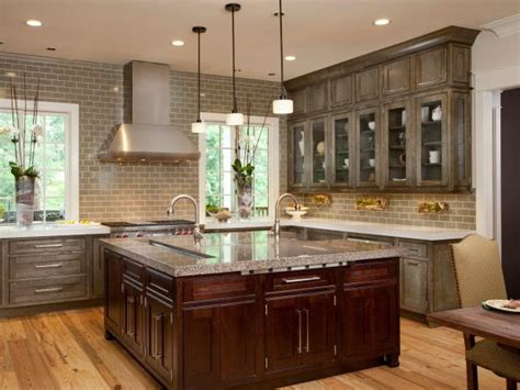 contemporary kitchen  distressed gray cabinets hgtv