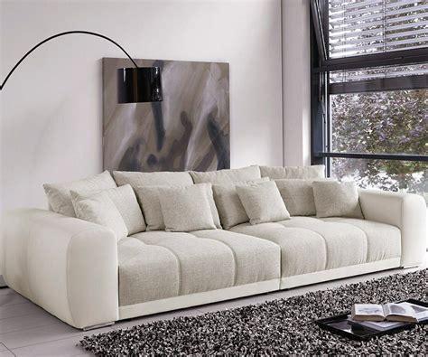 Big Sofa Leder by Big Sofa Valeska 310x135 Cm Grau Cremeweiss Beige 12