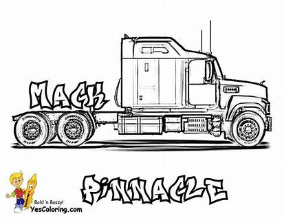 Coloring Truck Pages Mack Trucks Printable Rig