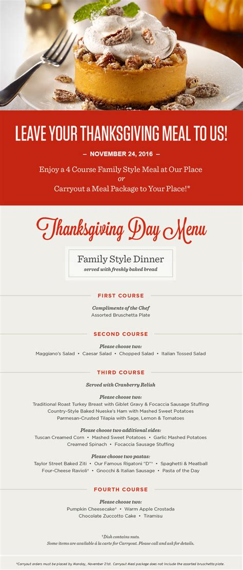 italian thanksgiving dinner menu the maggiano s blog maggiano s little italy
