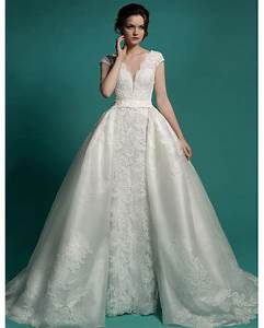 v neck cap sleeves wedding dresses with removable skirt With wedding dress express