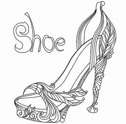 Coloring Shoes Pages Heel Drawing Template Shoe