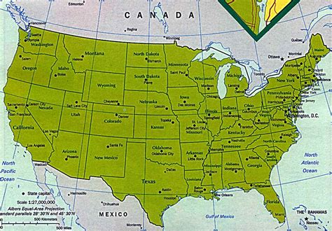physical map  usa  canada