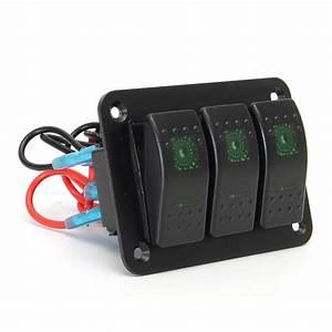 3 Gang 12v  24v Toggle Led Rocker Switch Panel On