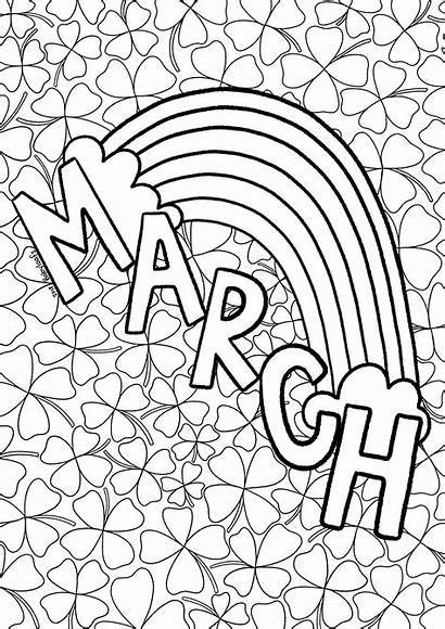 March Rainbow Coloring Sheet Pages Printable Donuts