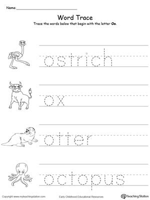 trace words that begin with letter sound o 953   Tracing Words That Begin With Letter Sound O