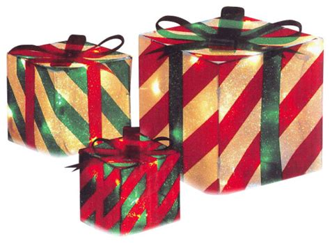 sylvania 3 piece lighted gift box set christmas outdoor yard decor 3 striped gift box yard decoration set traditional outdoor